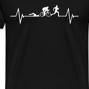 Triathlon Heartbeat Love T-Shirt T-Shirts - Men's Premium T-Shirt