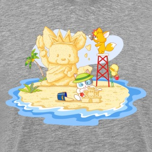 Cat building sand house - Men's Premium T-Shirt