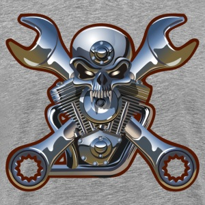 Skull engine motor head with wrench T-Shirts - Men's Premium T-Shirt