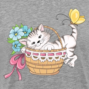 Cute cat in flower basket T-Shirts - Men's Premium T-Shirt