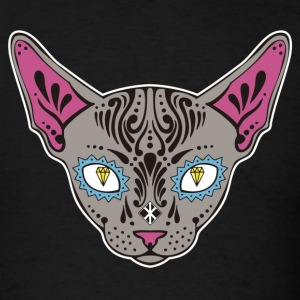 Katy the Sphynx Sugar Skull (White Border) T-Shirts - Men's T-Shirt