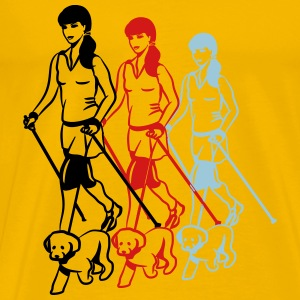 nordic walking women dog T-Shirts - Men's Premium T-Shirt