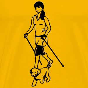 nordic walking female dog T-Shirts - Men's Premium T-Shirt