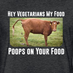 Hey Vegetarians funny t-shirt - Fitted Cotton/Poly T-Shirt by Next Level