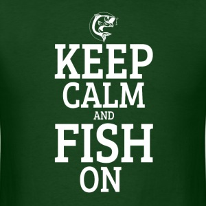 Keep calm and fish on love fishing funny t-shirt - Men's T-Shirt