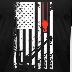 Crane Operator Flag Shirt - Men's T-Shirt by American Apparel