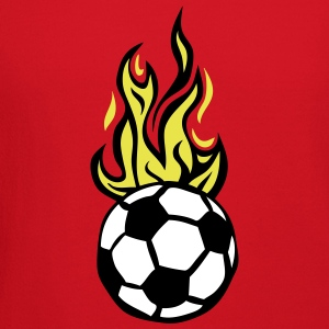 soccer ball flame fire flame cartoon Long Sleeve Shirts - Crewneck Sweatshirt