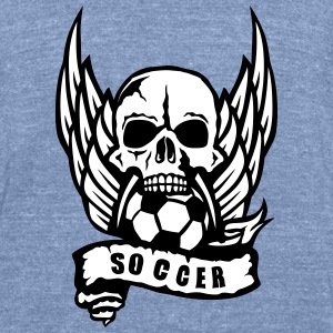 soccer skull wing banner 1306_logo T-Shirts - Unisex Tri-Blend T-Shirt by American Apparel