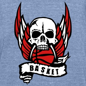 basketball skull wing banner 1306_logo T-Shirts - Unisex Tri-Blend T-Shirt by American Apparel