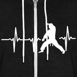 MY HEART BEAT FOR MARTIAL ARTS! Zip Hoodies & Jackets - Unisex Fleece Zip Hoodie by American Apparel