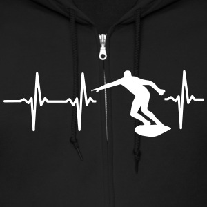 MY HEART BEATS FOR SURFING! Zip Hoodies & Jackets - Men's Zip Hoodie