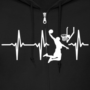 MY HEART BEATS FOR BASKETBALL Zip Hoodies & Jackets - Men's Zip Hoodie