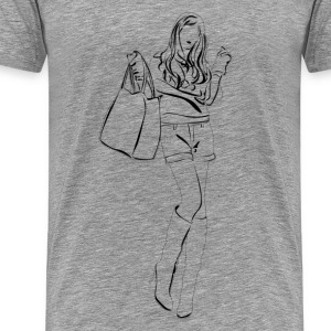 Fashion girl pencil sketch T-Shirts - Men's Premium T-Shirt