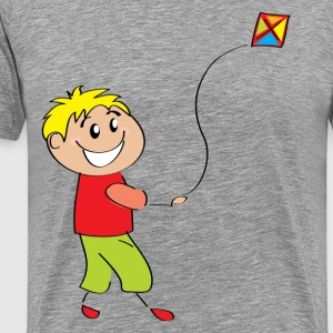 Cartoon child flying kite T-Shirts - Men's Premium T-Shirt