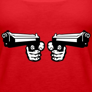 gun pistol revolver dual weapon hand 0 Tanks - Women's Premium Tank Top