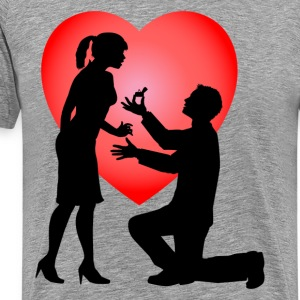 Man proposing girl with love background T-Shirts - Men's Premium T-Shirt