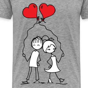 Love couple with balloons T-Shirts - Men's Premium T-Shirt