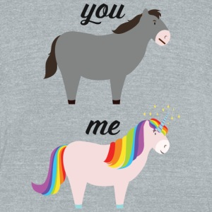 You VS ME (Donkey / Unicorn) T-Shirts - Unisex Tri-Blend T-Shirt by American Apparel