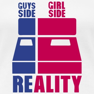 guys girl reality side bed Women's T-Shirts - Women's Premium T-Shirt