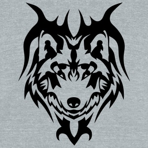 tribal tattoo wolf wild animal T-Shirts - Unisex Tri-Blend T-Shirt by American Apparel