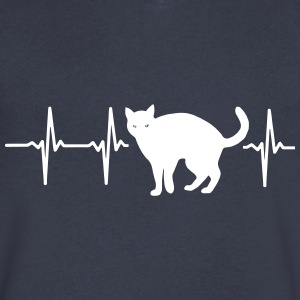 MY HEART BEATS FOR CATS! T-Shirts - Men's V-Neck T-Shirt by Canvas