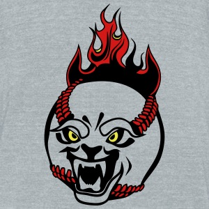 cartoon face baseball flame ball drawing T-Shirts - Unisex Tri-Blend T-Shirt by American Apparel
