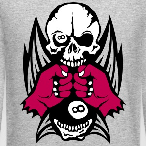 pool closed skull fist wing sports logo Long Sleeve Shirts - Crewneck Sweatshirt