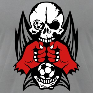 skull fist closed wing soccer sports T-Shirts - Men's T-Shirt by American Apparel