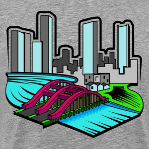 Bridge and skyscrapers design T-Shirts - Men's Premium T-Shirt