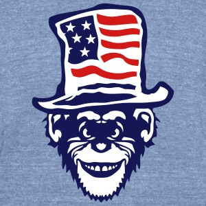 american flag hat monkey ok T-Shirts - Unisex Tri-Blend T-Shirt by American Apparel
