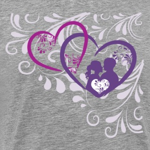 Elegant heart with floral background T-Shirts - Men's Premium T-Shirt
