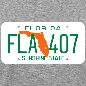 Retro Florida License Plate FLA 407 T-Shirts - Men's Premium T-Shirt