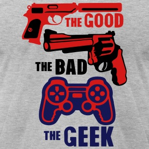 gun joystick geek good bad gun 22 T-Shirts - Men's T-Shirt by American Apparel