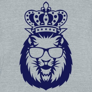 king crowned lion head logo face 910 T-Shirts - Unisex Tri-Blend T-Shirt by American Apparel