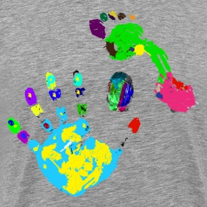 Multicolored hand footprints T-Shirts - Men's Premium T-Shirt