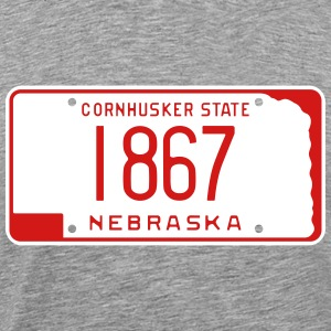 Retro Nebraska License Plate T-Shirt - Men's Premium T-Shirt