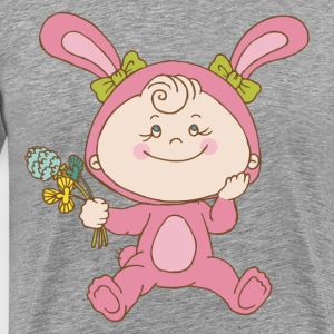 Baby cartoon holding flowers T-Shirts - Men's Premium T-Shirt