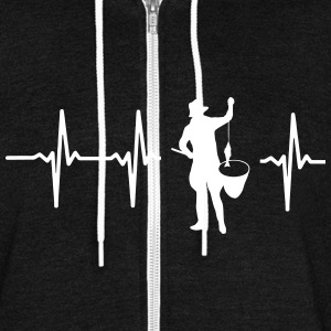 MY HEART BEATS FOR FISHING Zip Hoodies & Jackets - Unisex Fleece Zip Hoodie by American Apparel