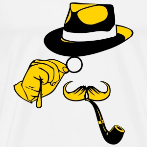 monocle mustache hat pipe 1 T-Shirts - Men's Premium T-Shirt