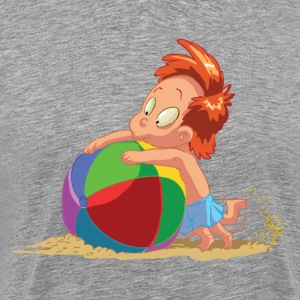 Cartoon kid playing with ball in sand T-Shirts - Men's Premium T-Shirt