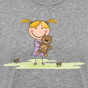 Cartoon girl with stuffed animal in field T-Shirts - Men's Premium T-Shirt