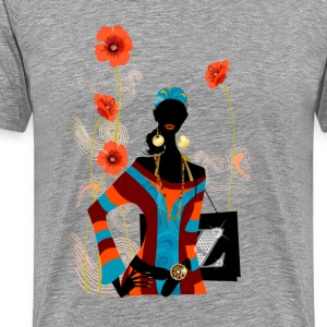 Fashion girl on floral background T-Shirts - Men's Premium T-Shirt