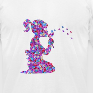 Girl with Flower - Men's T-Shirt by American Apparel