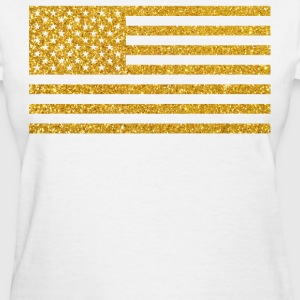 American Flag With Gold Glitter - Women's T-Shirt