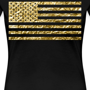 American Flag With Gold Foil - Women's Premium T-Shirt