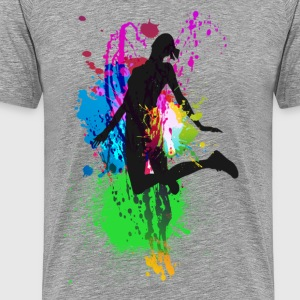 Girl Jumping on colorful background T-Shirts - Men's Premium T-Shirt