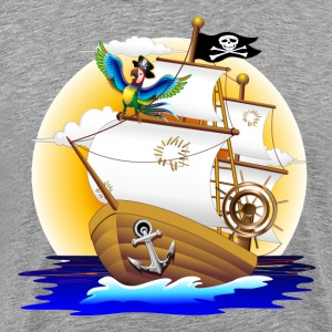 Cartoon corsair and parrots graphics T-Shirts - Men's Premium T-Shirt