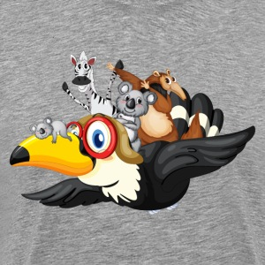 Cute animals on toucan cartoon - Men's Premium T-Shirt