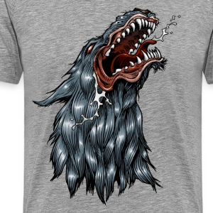 Snarling coyote or wolf mascot - Men's Premium T-Shirt