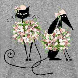 Beautiful cats with flowers - Men's Premium T-Shirt
